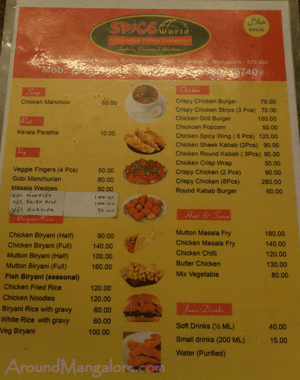Food Menu SPICE World Fast Food Family Restaurant Mangalore P4 - SPICE World