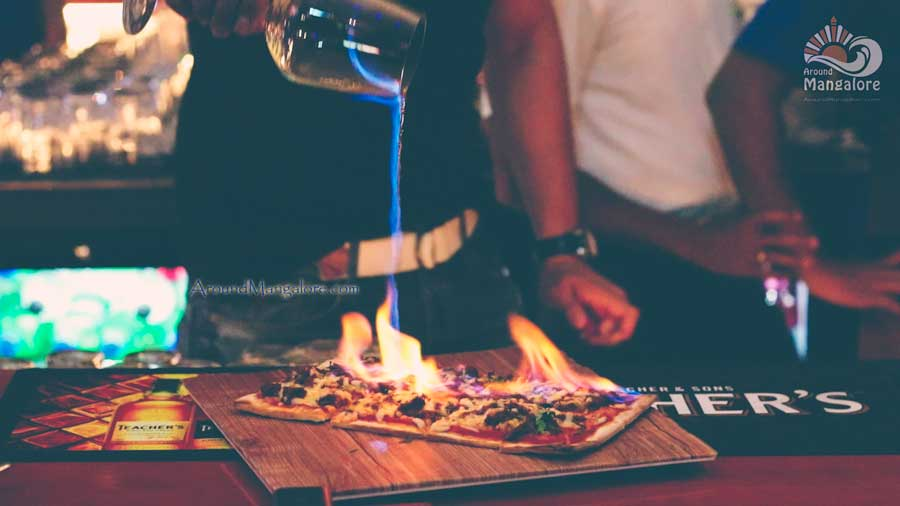 Chilli Cheese Rum Flaming Pizza ONYX Air Lounge Kitchen MG Road Mangalore 2 - ONYX Air Lounge & Kitchen - M G Road