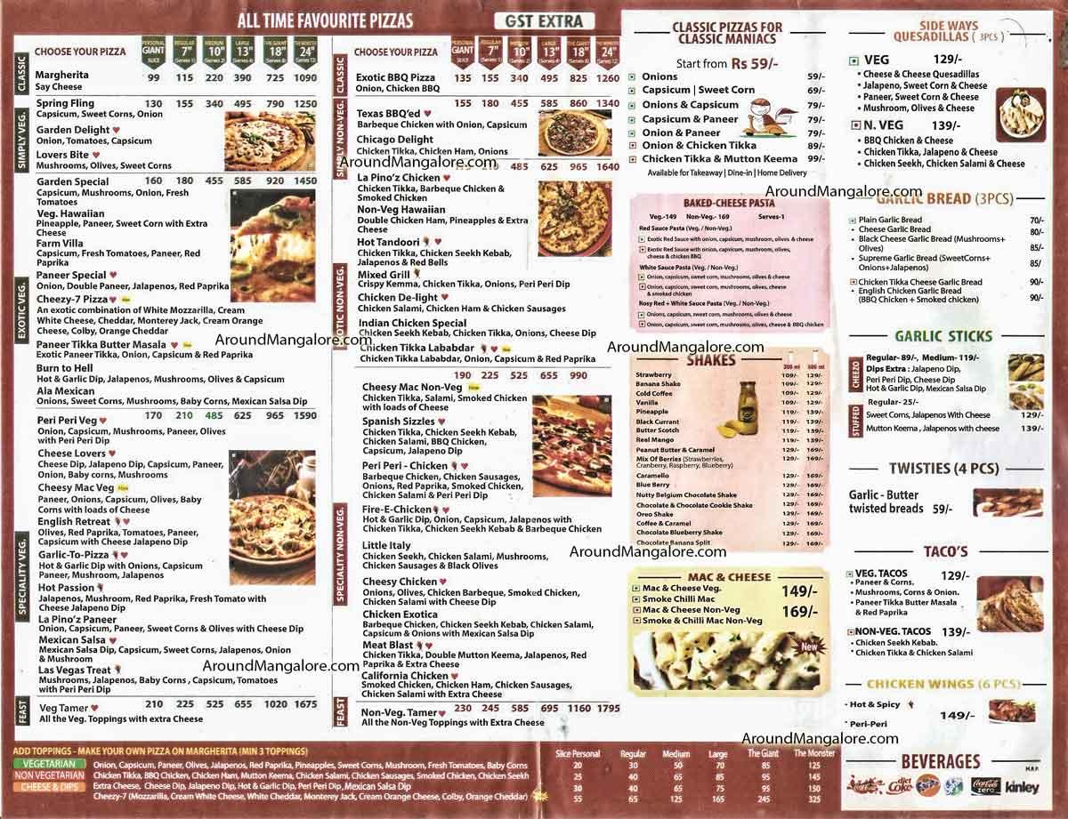 Food Menu La Pinoz Pizza Balmatta Road Bendoor Mangalore - La Pino'z Pizza - Balmatta Road, Bendoor