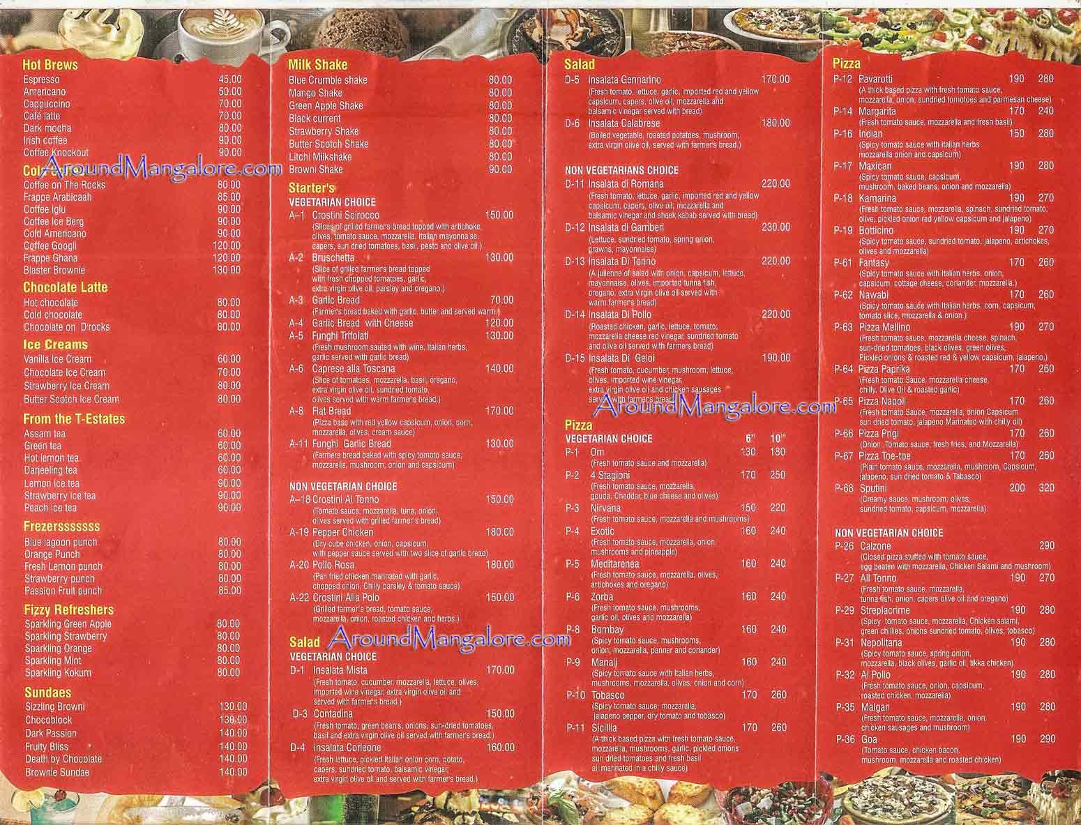 Food Menu Scirocco The Pizzeria Italian Restaurant Mangalore P1 - Scirocco - The Pizzeria - Italian Restaurant