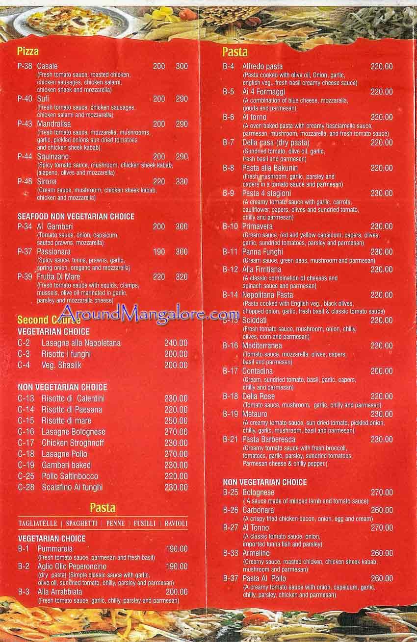 Food Menu Scirocco The Pizzeria Italian Restaurant Mangalore P4 - Scirocco - The Pizzeria - Italian Restaurant