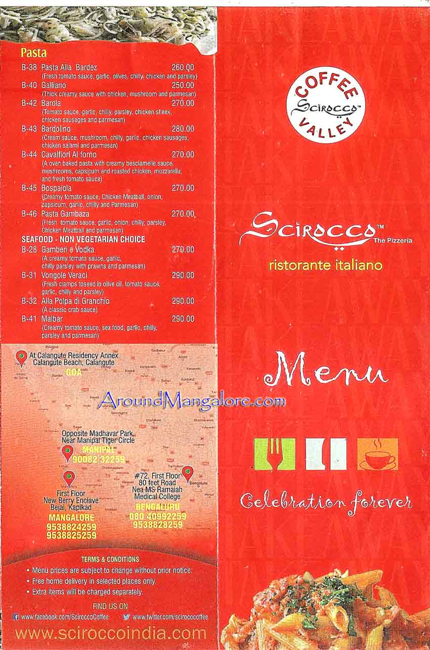 Food Menu Scirocco The Pizzeria Italian Restaurant Mangalore p3 - Scirocco - The Pizzeria - Italian Restaurant