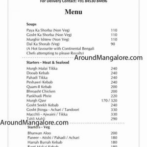 Food Menu - Johnny Nawab - Mangalore
