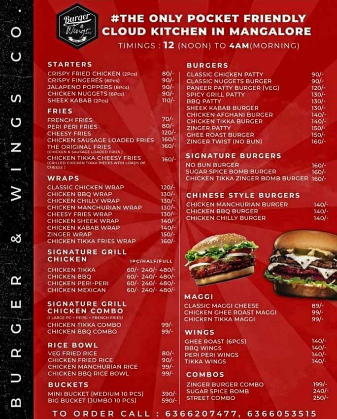 Food Menu - Burger & Wings Co - Cloud Kitchen in Mangalore