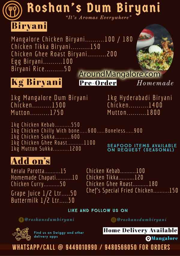 Food Menu Roshans Dum Biryani Cloud Kitchen in Mangalore - Roshan's Dum Biryani - Cloud Kitchen in Mangalore