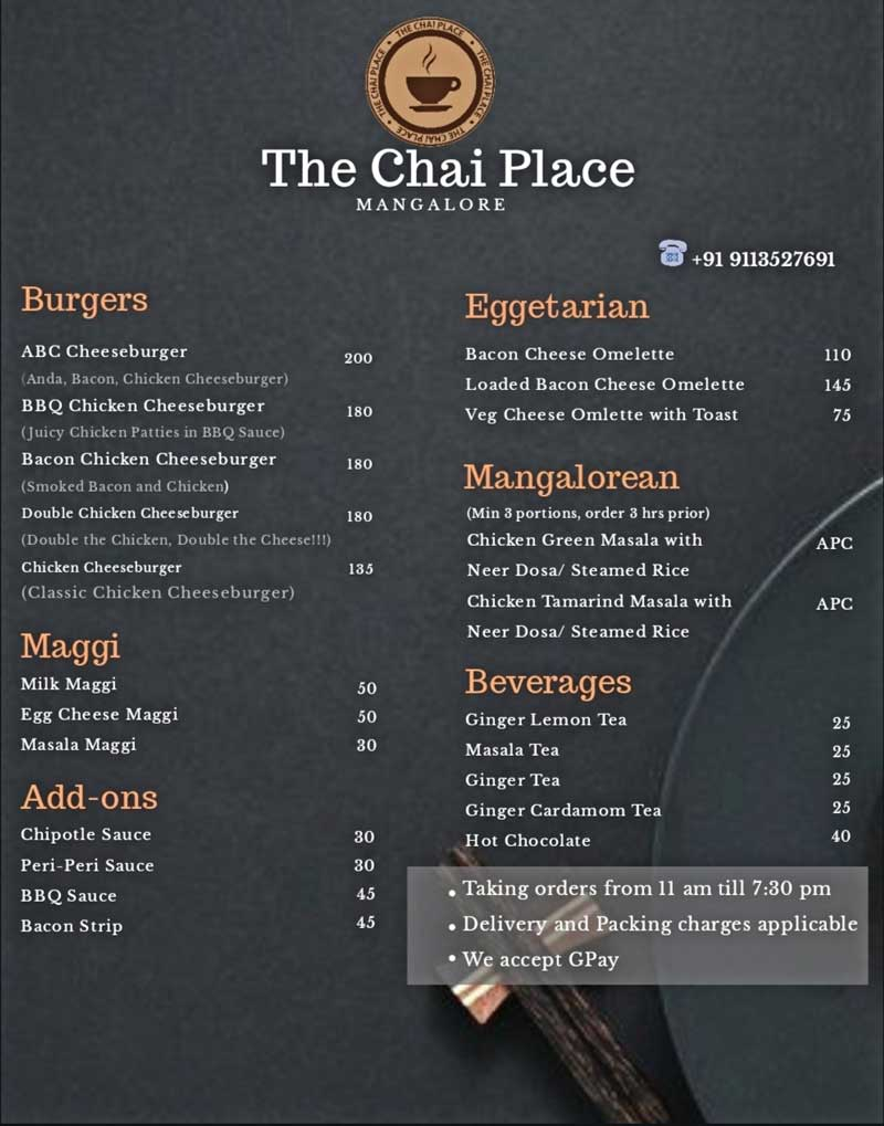 Food Menu The Chai Place Cloud Kitchen in Mangalore - The Chai Place - Cloud Kitchen