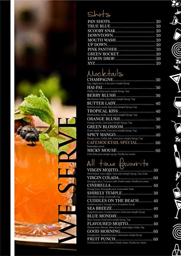 Mocktail Menu Cafe Mocktail Neermarga Road Mangalore - Cafe Mocktail - Neermarga Road