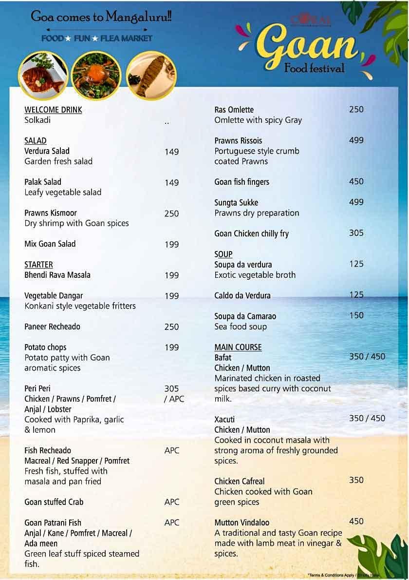 Food Menu - Goan Food Festival - 18 Sep to 4 Oct 2020 - The Ocean Pearl, Mangalore