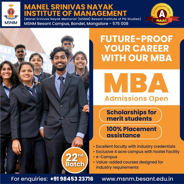 MBA - Admissions Open - Manel Srinivas Nayak Institute of Management