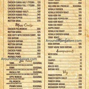 Food Menu - The Toddy House - Mangalore