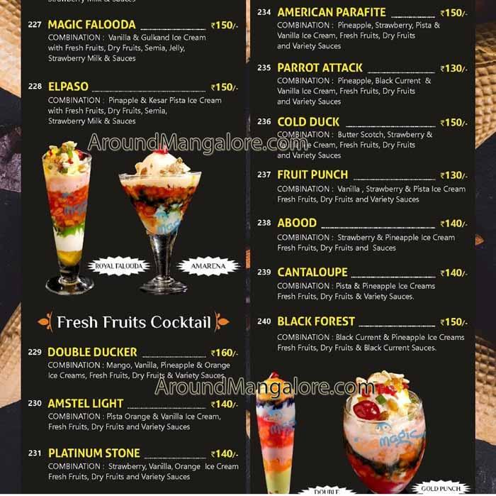 Ice Cream and Food Menu - Ice Magic - Kankanady - Mangalore